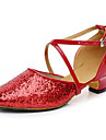 Latin Women\'s Sandals Chunky Heel Leather Glitter Buckle Dance Shoes(More Colors)