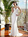 Lanting Bride Trumpet/Mermaid Petite / Plus Sizes Wedding Dress-Sweep/Brush Train Spaghetti Straps Satin Chiffon