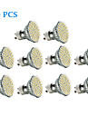 3W GU10 Spot LED 60 SMD 3528 240 lm Blanc Chaud / Blanc Froid AC 100-240 V 10 pieces