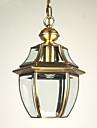 European în stil retro 1 lumina pandantiv cu umbra de sticlă transparentă