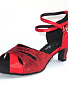 Chaussures de danse(Rouge) -Personnalisables-Talon Personnalise-Satin Paillette Brillante-Latine Salon