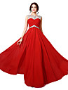 Formal Evening Dress - Plus Size / Petite A-line Bateau Floor-length Chiffon