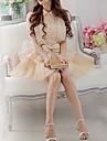 Roze Doll Vrouwen shirt Kraag Shirt Asymmetrische OL korte mouw