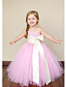 A-line Floor-length Flower Girl Dress Sleeveless Strapless with Bow(s)