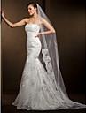 Wedding Veils Women\'s Elegant Tulle One-tier Lace Applique Edge Veils