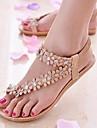 נעלי נשים - סנדלים - עור - כפכפים - לבן / בז\' - קז\'ואל - עקב שטוח
