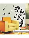 Wall Stickers Väggdekaler, stil svart blomma träd pvc väggdekorationer