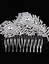 Wedding Bride Flower Austria Rhinestone Feather Silver Combs Hair Accessories