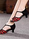 Chaussures de danse (Rouge/Argent/Or) - Non personnalisable - Talon Large - Suede/Paillette - Danse latine