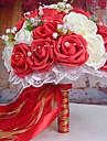 un bouquet de 30 roses pe de simulation de mariage bouquet de mariage mariee tenant des fleurs, rouge et blanc