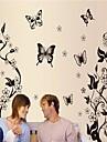 miljö avtagbar fjäril och blomma pvc väggklistermärke