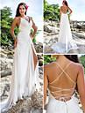 Lanting Bride Sheath/Column Petite / Plus Sizes Wedding Dress-Sweep/Brush Train V-neck Chiffon