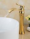 fashionabla guldpläterade mässing badrum tvättställsblandare - guld