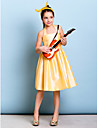 Knee-length Taffeta Junior Bridesmaid Dress - Daffodil A-line Halter
