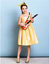 Lanting Bride Knee-length Taffeta Junior Bridesmaid Dress A-line Halter with Sash / Ribbon / Crystal Brooch