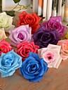 """2,8 """"l roses simples tetes soie fleurs en tissu 6 pcs"""