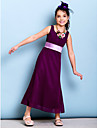 Lanting Bride Ankle-length Chiffon Junior Bridesmaid Dress Sheath / Column Scoop with Bow(s) / Sash / Ribbon / Side Draping