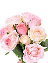 """11 """"l uppsättning av nio huvuden 6 blommor + 3 knoppar våren ökade siden tyg blommor ljusrosa"""