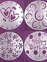 4 st runda kakan fondant mögel hantverk dekorerar cutter blomma hjärta sugarcraft 20 * 20 * 0,12 cm
