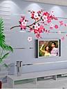 kinesisk stil Peach Blossom formad sovrum / tv väggklistermärke