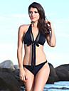 Women\'s Halter Bikinis , Solid Sports Bras Nylon/Spandex Black