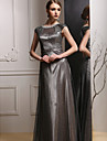 Formal Evening Dress - Dark Grey Sheath/Column Jewel Floor-length Satin
