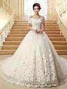 Vestido de Noiva - Marfim Baile Ombro a Ombro Cauda Capela Tule
