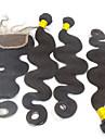 """4pcs lot 10 """"-28"""" extensions de cheveux reel peruviens naturel noir avec le grade de fermeture 6a excellente cheveux remy vierge vague de"""