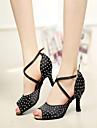 Chaussures de danse(Noir) -Personnalisables-Talon Aiguille-Satin-Latine Spectacle