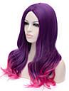 de nya tecknade färg peruk lila lutning lockigt hår peruker