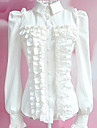 Blus/Skjorta Söt Lolita Lolita Cosplay Lolita-klänning Vit Svart Enfärgat Lång ärm Lolita För Dam Polyester