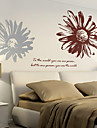 stickers muraux autocollants de mur, tournesol romantique modernes muraux PVC autocollants