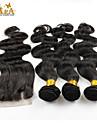 """10 """"-26"""" indian jungfru hår förkroppsligar vinkar människohår väft med spets stängning färg naturligt svart baby hår för svarta kvinnor"""