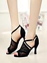 Customizable Women\'s Dance Shoes Latin Lace Stiletto Heel Black