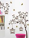 Wall Stickers Väggdekaler, träd och fågelbur pvc väggdekorationer
