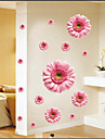 autocolante de perete decalcomanii de perete, margarete roz autocolante de perete din PVC
