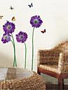 väggdekorationer Väggdekaler, lila fjäril blomma pvc vägg klistermärken