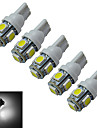 JIAWEN® 5pcs T10 1W 5X5050SMD 70-90LM 6000-6500K Cool White  LED Car Light (DC 12V)