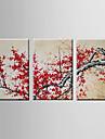 HANDMÅLAD LandskapModerna Tre paneler Kanvas Hang målad oljemålning For Hem-dekoration