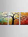 HANDMÅLAD AbstraktModerna Tre paneler Kanvas Hang målad oljemålning For Hem-dekoration