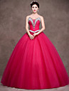Formal Evening Dress Ball Gown Strapless Floor-length Satin / Tulle / Stretch Satin with Crystal Detailing / Sash / Ribbon / Side Draping