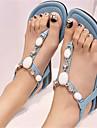 Sandal ( Blå/Lila/Beige ) - till KVINNOR Platt klack - Tåring - i Läderimitation