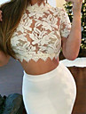 Women\'s Sexy Inelastic Short Sleeve Short Blouse