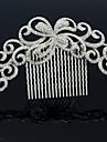 Alloy Clear Rhinestone Women Wedding Prom Flower Girl Leaves Flower Hair Comb