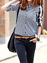 Women\'s Asymmetric Spell Color Plaids Shirts