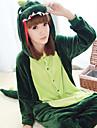 kigurumi Pyjamas Dinosaure Collant/Combinaison Fete / Celebration Pyjamas Animale Halloween Vert fonce Mosaique Polaire Kigurumi Pour