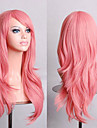 70 cm Long Curly Smoke Pink Hair Air Volume High Temperature Silk Wig