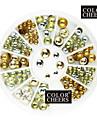 80PCS Mixs Taille Rivet ronde Nail Art Or & Argent Decorations