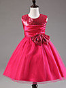 A-line Knee-length Flower Girl Dress - Satin / Tulle / Sequined / Polyester Sleeveless Jewel with