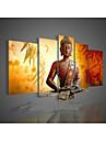 Peint a la main Abstrait Cinq Panneaux Toile Peinture a l\'huile Hang-peint For Decoration d\'interieur